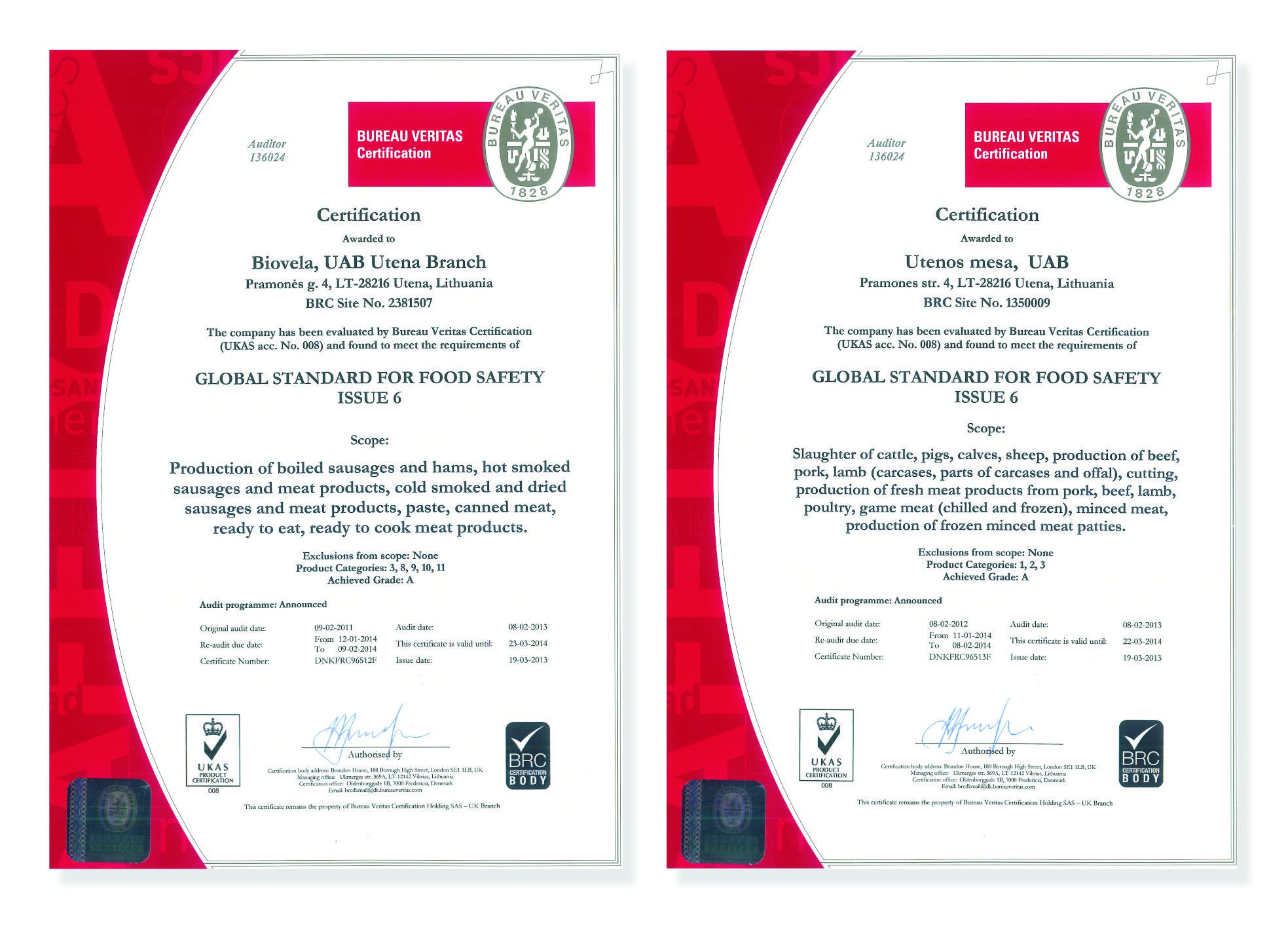 Brc Certificate Grade A For Biovela Uab And Utenos Msa Uab