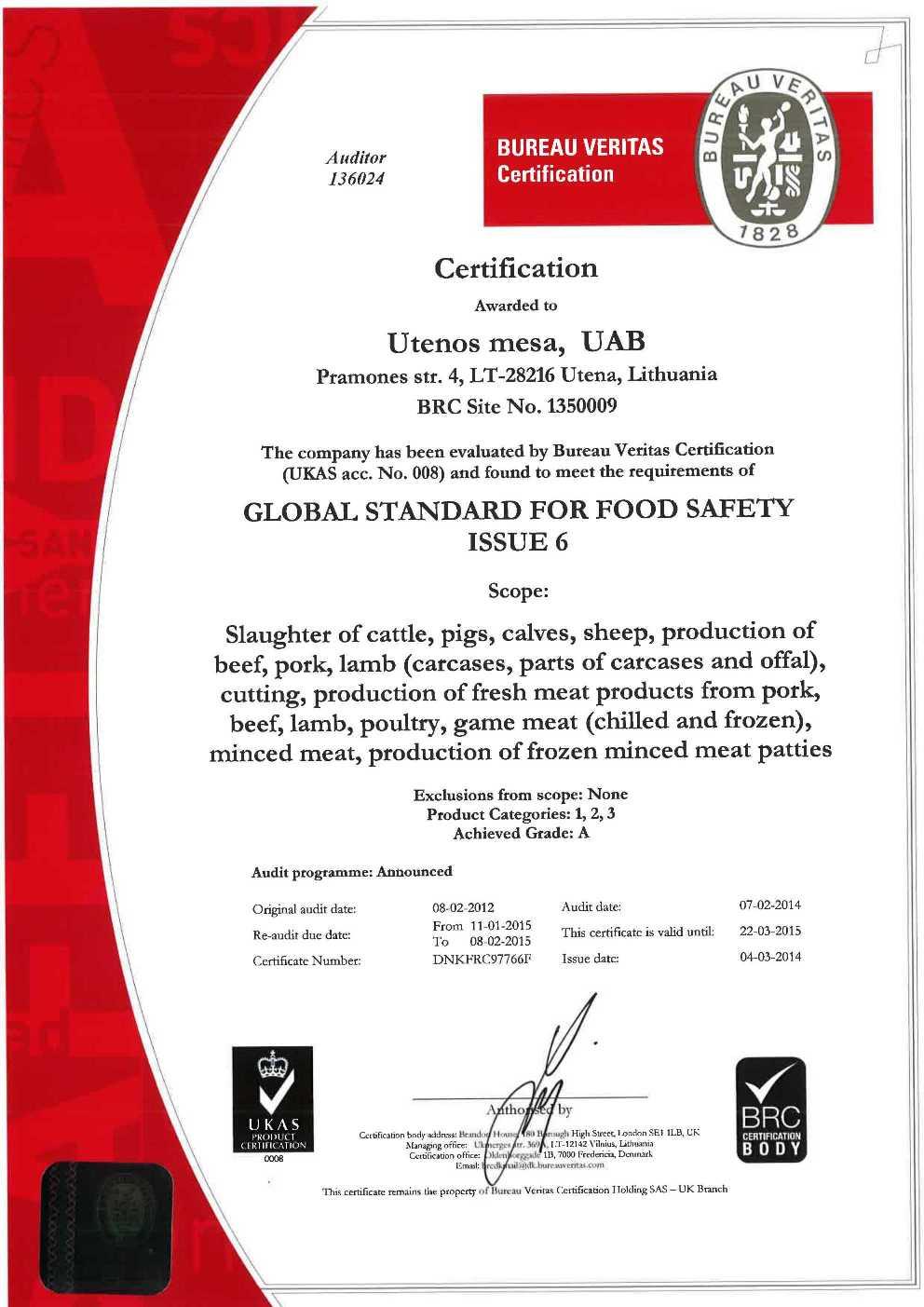 Certificates quality meat products biovela certificates xflitez Choice Image
